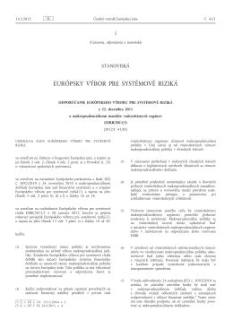 Odporúčanie Európskeho výboru pre systémové riziká z 22