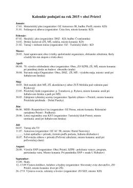 Kalendár podujatí na rok 2015 v obci Prietrž
