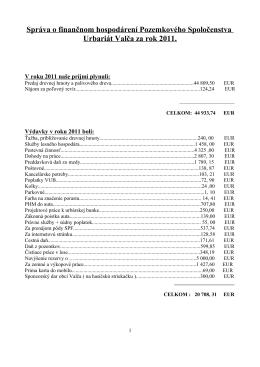 Správa o finančnom hospodárení Pozemkového