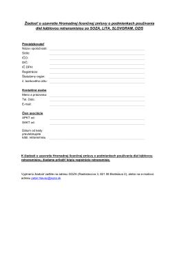Žiadosť o uzavretie Hromadnej licenčnej zmluvy o