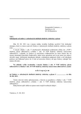 Vzor dohody o odstúpení od zmluvy