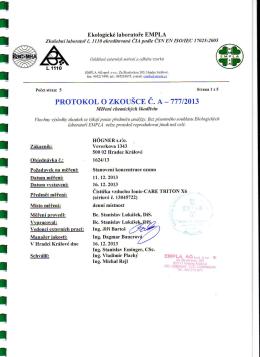 Protokol o meraní dezinfekčnej účinnosti prístroja - ionic