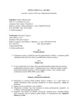 kúpná zmluva č. 10/1/2012
