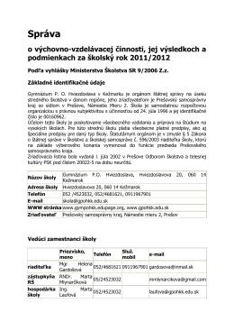 Sprava GPOH KK 2011-2012 - Gymnázium PO Hviezdoslava v