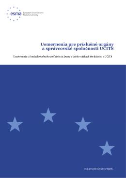 Usmernenia pre príslušné orgány a správcovské - Esma
