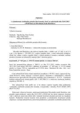 Naša značka : OO3-2012/1014/GZ1/SEH Zápisnica z vyhodnotenia