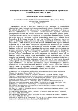 Adsorpčné vlastnosti Sr(II) na bentonite Jelšový potok v porovnaní