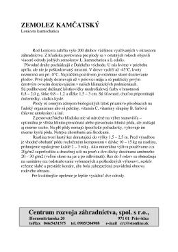 ZEMOLEZ KAMČATSKÝ Centrum rozvoja záhradníctva, spol. s r.o.,