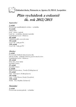Plán vychádzok a exkurzií šk. rok 2012/2013