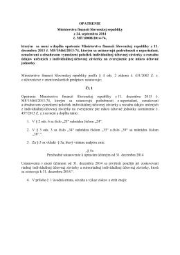 OPATRENIE Ministerstva financií Slovenskej republiky z 24