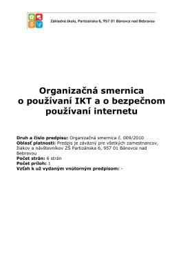 Organizačná smernica o používaní IKT ao bezpečnom používaní