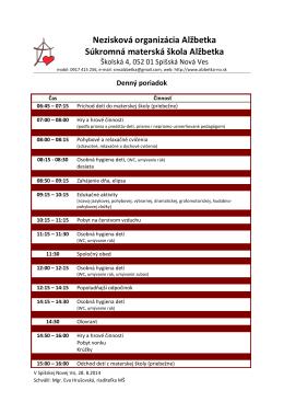 Denný poriadok v školskom roku 2014/2015