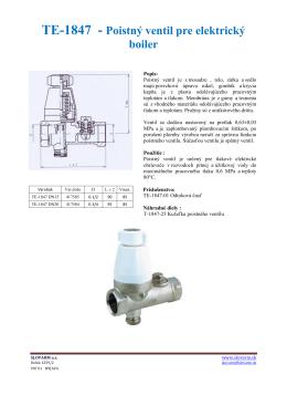 TE-1847 - Poistný ventil pre elektrický boiler
