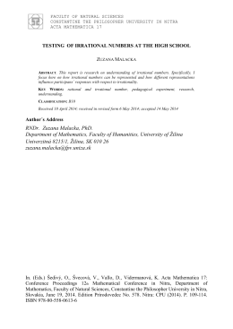 Abstract - 13th mathematical conference in Nitra