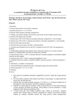 Zápisnica zo zasadnutia OZ konaného dňa 10. 12