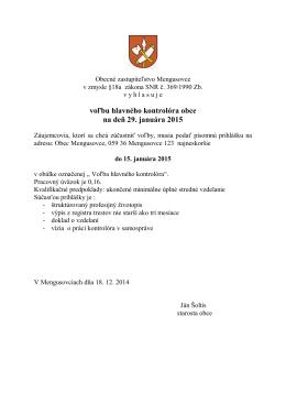 voľbu hlavného kontrolóra obce na deň 29. januára