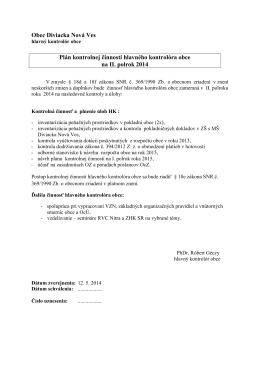 Obec Diviacka Nová Ves Plán kontrolnej činnosti hlavného