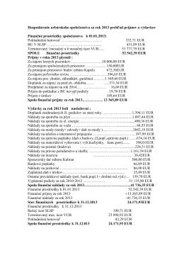 Hospodárenie urbárskeho spoločenstva za rok 2013