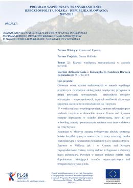 Rozszerzenie infrastruktury turystycznej pogranicza poprzez