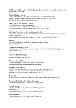 Tématické celky pre prijímacie skúšky 1.ročník