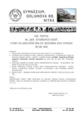 GymnáziUM, Golianova 68, Nitra