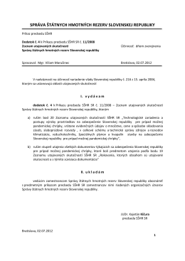Dodatok č. 4 k Príkazu predsedu SŠHR SR č. 11/2008 Zoznam