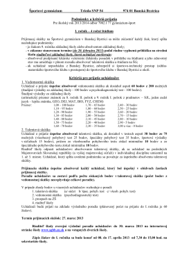 Športové gymnázium Trieda SNP 54 974 01 Banská Bystrica
