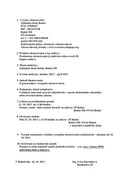 Základná škola Beňuš IČO: 37828347 DIČ: 2021672158 Beňuš 250