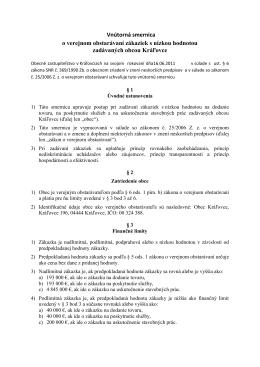 Smernica o verejnom obstaravani Kralovce - 16.06