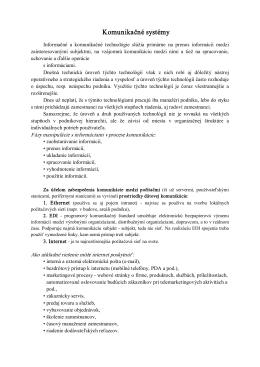 Téma č.3 INFORMATIKA - Komunikačné systémy