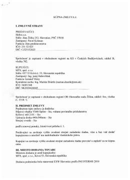 Zmluva č. 1, zverejnená 27.10.2014