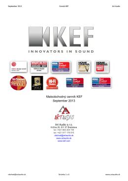 September 2013 Maloobchodný cenník KEF