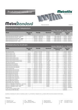 Produktový cenník MetroŠtandard969.45 KB