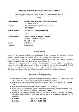 Zmluva o výpožičke nebytových priestorov č. 7/2012