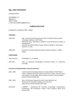 Mgr. JANA STEHLÍKOVÁ CURRICULUM VITAE