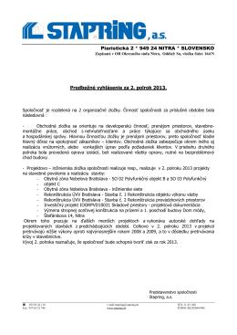 Predbežné vyhlásenie II -2013
