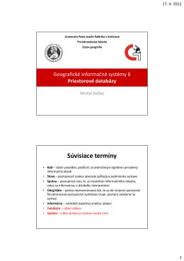 06_GIS priestorové databázy.pdf - Univerzita Pavla Jozefa Šafárika