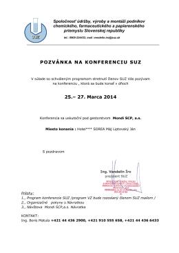 POZVÁNKA NA KONFERENCIU SUZ 25.– 27. Marca 2014