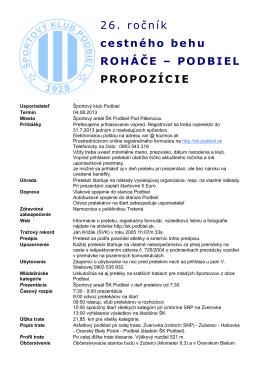 26. ročník cestného behu ROHÁČE – PODBIEL