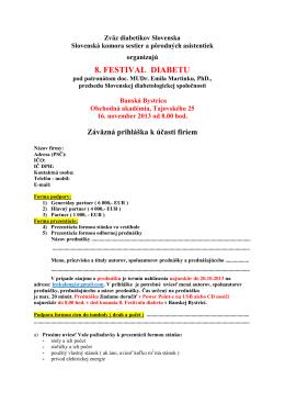 Prihláška na Festival diabetu 2013 pre firmy (.pdf format)