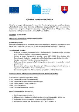 Informácia o podporenom projekte