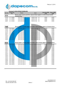 Platný od 1.2.2014 Trhovisko 57, 05304 SPIŠSKÉ PODHRADIE
