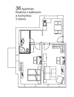 36Apartmán Rodinný s balkónom a kuchynkou 2