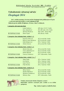 Ekoplagát 2014 - ZŠ, Levická 903, Vráble
