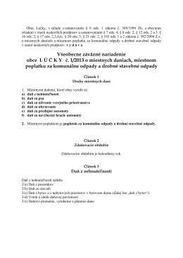 Všeobecne záväzné nariadenie obce L Ú Č K Yč. 1/2013 o