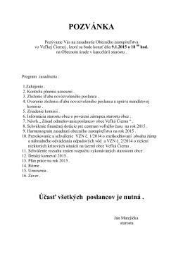 Pozvánka 9.1.2015 - Obec Veľká Čierna