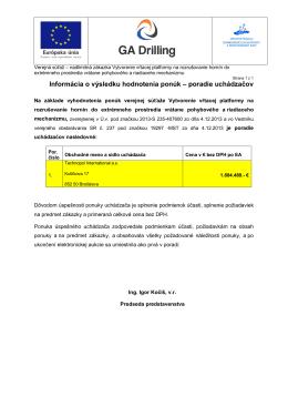 Informácia o výsledku hodnotenia ponúk – poradie