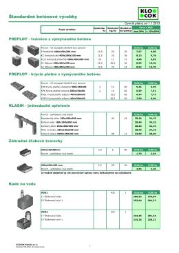 Štandardné betónové výrobky