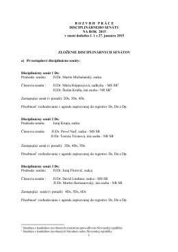 Rozvrh práce Disciplinárneho senátu na rok 2015