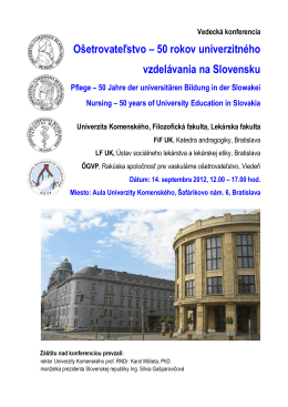 Program konferencie 14.9. 2012 - Slovenská faleristická spoločnosť